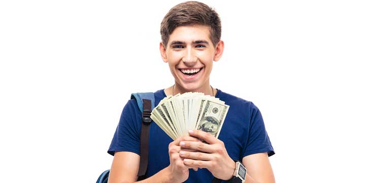 college student holding money representing colleges that meet 100% of need