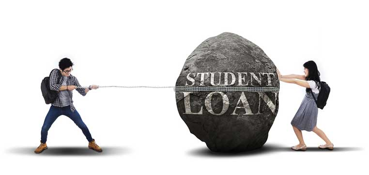 2 students pulling stone marked student loans representing dangers of PLUS loans